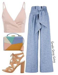 """""""Light Denim"""" by simplesassysultry on Polyvore featuring MSGM, Sam Edelman and Mark Cross"""