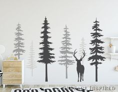 Nursery Wall Decals Pine Tree Wall Decals With Large Deer Wall Decal Wall Mural Stickers Nursery Tree Art Nature Wall Decals Scandinavian Kids Wall Decals, Nursery Wall Decals, Wall Murals, Nursery Trees, Sticker Mural, Wall Stickers, Wall Art, Vinyl Decals, Main Image