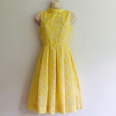 Vintage 1960s Dress Flirty and gorgeous fabulous 1960d yellow paisley print dress. Fit and flare with pleats. No size marked but is a small. Vintage Dresses Midi