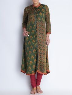 Buy Green Button Down Vegetable Printed Gajji Silk Kurta Online at Jaypore.com