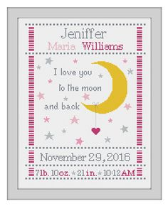 cross stitch baby birth sampler birth announcement I love