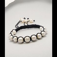 """Fresh Water Pearls Cotton Adjustable Bracelet Fresh Color Pearls black Cotton Bracelet. adjustable from 6"""" to 8"""" Jewelry Bracelets"""