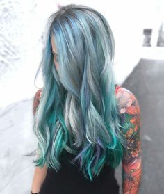 Metallic blue teal and purple lavender lilac ombre for wavy long hair. Gorgeous!