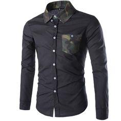 2017 Men'S Fashion Camouflage Pocket Collar Design Shirt Stitching Design Leisure Slim Long Sleeve Shirt Single-Breasted XXL