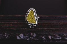Handmade Green Druzy Epidote Ring