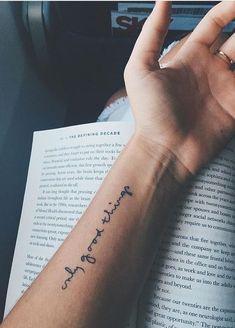 Back tattoos; Back tattoos; Smal Tattoo, Small Forearm Tattoos, Forearm Word Tattoo, Word Tattoos On Arm, Arm Quote Tattoos, Wrist Tattoo Writing, Disney Quote Tattoos, Script Tattoo Placement, Short Quote Tattoos