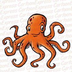 Orange cartoon Octopus