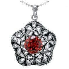 """1.50 CT CZ Garnet Fashion Pendant in Sterling Silver Antique Style With 18"""" Chain"""