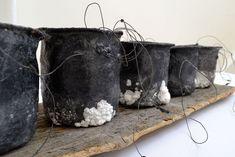 Black Salt Pots, Felt, wire, wax, found thread, saltwater, driftwood