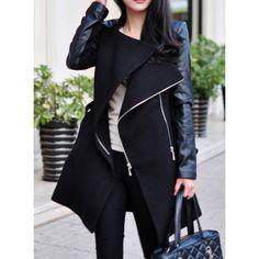 Stylish Stand-Up Collar Long Sleeve Zippered Spliced Women's Coat, BLACK, M in Jackets & Coats | DressLily.com