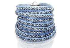 Bracelet Arezzo light blue leather with zirconia 160 cm