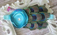 Turquoise Peacock Baby Headband - Newborn Headband - Photo Prop - Blue Flower - Turquoise Feather Headband - Peacock Bow- Infant Headband on Etsy, $10.95