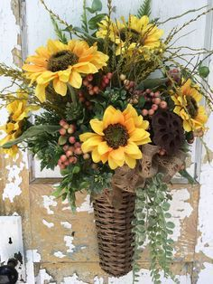 Summer Wreath for Front Door, Summer Wall Basket, Sunflower Wreath, Sunflower Basket by FlowerPowerOhio on Etsy