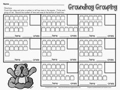 FREE Groundhog Grouping of Tens and Ones (CCSS K.NBT- Work with numbers 11-19 to gain foundations for place value)