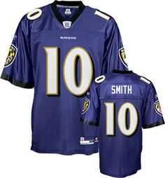 Reebok Baltimore Ravens Troy Smith 10 Purple Authentic Jersey Sale