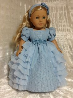 RESERVED Blue Fancy Gown for Caroline. by DollSizeDesigns on Etsy, $225.00