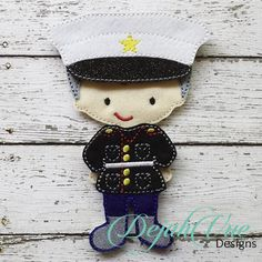 Boy Marine Outfit for the Non Paper Flat Felt Dolls. These items and more are available for purchase at https://www.etsy.com/shop/SchoolhouseBoutique