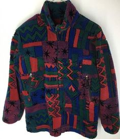 EMS Mens Medium Vtg Jacket Geometric Red Green Blue Orange Black Warm Winter  | eBay