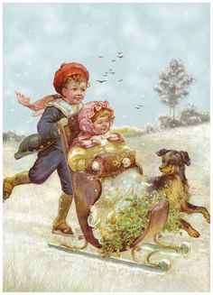 vintage dog pictures | Children and Dog Sledging in the Snow Christmas Nostalgic New Postcard ...