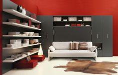 moderne wohnideen klappbett schrankbett weißes sofa rote wandgestaltung