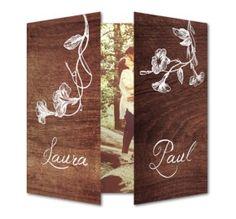 Hout design van www.planet-cards.nl. Voor een echt rustieke bruiloft. #trouwkaart #rustic