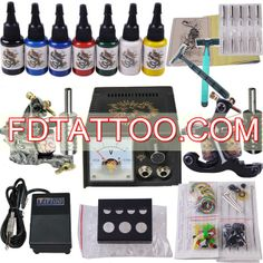 Starter 2 Tattoo Machine Grips Needles Inks Power Kit 7 Ink  Wholesale Price:US $41.86 Professional Tattoo Kits, Tattoo Equipment, Tattoo Needles, Tattoo Supplies, Tattoo Machine, Permanent Makeup, New Tattoos, Tattoo Artists, Ink