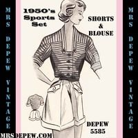 1950's Shorts and Blouse #5585 | Mrs Depew Vintage