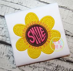 Smile Flower Applique  https://www.allstitchedupbyangela.com/shop/product/pop-basic-brown-by-timeless-treasures/  https://www.allstitchedupbyangela.com/shop/product/pop-basic-yellow-by-timeless-treasures/