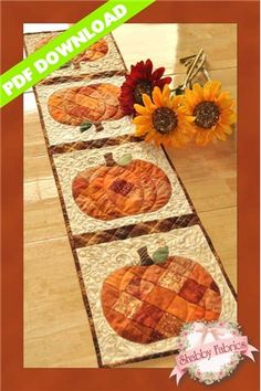 """Patchwork Pumpkin Table Runner - PDF DOWNLOAD: Create a darling table runner using your orange scraps! This Shabby Fabrics Exclusive finishes to 12 1/2"""" x 53"""" and features patchwork pumpkins, appliqued stems and leaves, and a to…"""