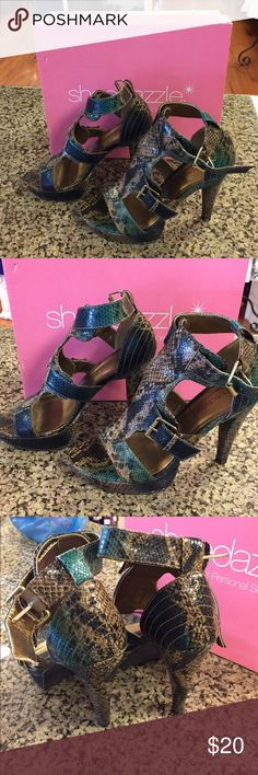 """ShoeDazzle Muse Brown Serpentine Heels Brown, teal and black patterned, adjustable strap closure. 5"""" heel. Great condition, worn couple times Shoe Dazzle Shoes Heels"""