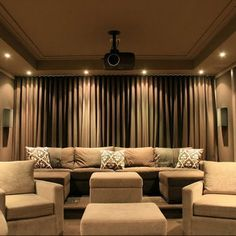 Media Room Design: curtain over wall.