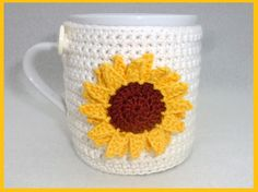Your place to buy and sell all things handmade - Cream sunflower crochet mug cozy by MyfanwysMakes on Etsy, Crochet Coffee Cozy, Crochet Cozy, Crochet Cushions, Crochet Crafts, Crochet Doilies, Crochet Flowers, Crochet Projects, Crochet Sunflower, Crochet Stitches Patterns