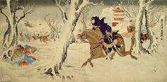 Picture of the violent battle in the snow in the Toshu Province near Wei-Hai-Wei by Utagawa Kunimasa IV, 1895 - Japanese Color Woodblock Print - The Lavenberg Collection of Japanese Prints