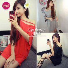 Korea Fashion  pure color shoulders with long long coat female off-the-shoulder T-shirt