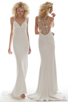 Olivia strapless fit and flare gown with scalloped lace neckline and satin ribbon waist tie.  And what a great back!