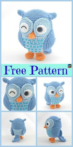12 Cutest Crochet Amigurumi Owl Free Patterns - DIY 4 EVER Everyone loves owls, and they are one of our favorite animals! So why not learn how to make a adorable Crochet Amigurumi Owl for your child ? Crochet Birds, Crochet Amigurumi Free Patterns, Crochet Animal Patterns, Owl Patterns, Stuffed Animal Patterns, Cute Crochet, Crochet Crafts, Crochet Dolls, Crochet Projects