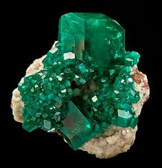 Dioptase and Calcite - Tsumeb mine, Namibia