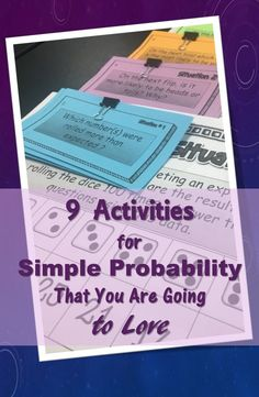 9 ways to help students really *get* simple probability. Includes resources for hooks/anticipatory sets, practice, and enrichment. A mix of technology based resources, print and go materials, and a FREE game for the whole class. Math Tutor, Teaching Math, Math Teacher, Teaching Ideas, Teaching Tools, Teacher Tips, Teacher Stuff, Math Resources, Math Activities