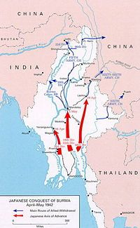 The Japanese conquest of Burma was the opening chapter of the Burma Campaign in the South-East Asian Theatre of World War II, which took place over four years from 1942 to 1945. During the first year of the campaign, the Japanese Army (with aid from Thai forces and Burmese insurgents) drove British Commonwealth and Chinese forces out of Burma, then occupied the country and formed a Burmese administrative government