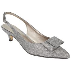 55144fb5463 BuyJohn Lewis Dorchester Bow Slingback Court Shoes, Silver, 6 Online at  johnlewis.com