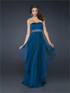 Strapless Empire Waist Pleated and Layered Beaded Chiffon Prom Dress PD10847Color #873 Dark Teal