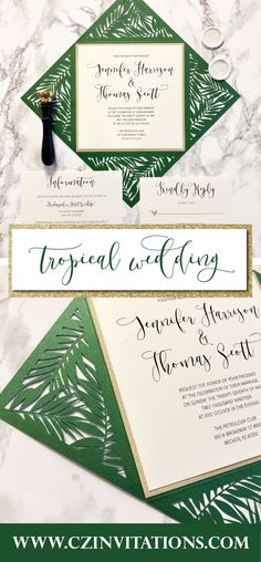 This tropical palm leaf wedding invitation is perfect for a beach weddings! IDK about you but I am ready for destination weddings again! These are perfect for 2021 tropical weddings or themes if you're too far from the beach.