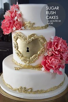 Gold Heart Lock And Key Wedding Cake