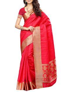 Buy Meghdoot- Azalea Red Colour Art Silk Saree With Blouse Piece Online, , LimeRoad