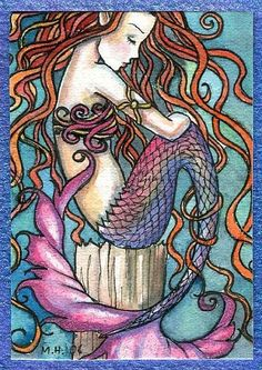 Ginger haired mermaid w/ pink tail Art of Molly Harrison