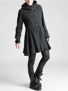 WOOLLY THICK COTTON COAT WITH FLEECE LINING IN THE TOP - Woman -