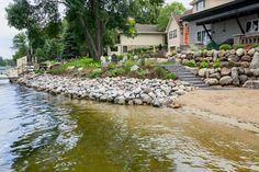 Lakeshore restoration created by Backyard Reflections Sand Lake, Lake Dock, Simple Landscape Design, Lake Landscaping, Pond Life, Lake Cottage, Beach Landscape, River House, Lake Life