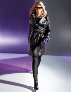 Leather trench coat, lamb nappa, Gloves, Trousers, Ankle boots, Jumper