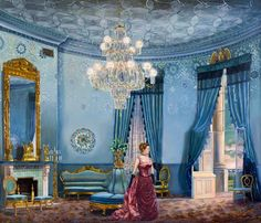 First Lady Frances Cleveland in the White House Tiffany Blue Room, by Waddell. Love the colors and the ceiling detail.