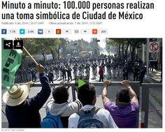 Minuto a minuto: 100.000 personas realizan una toma simbólica de Ciudad de México. #YaMeCanse2 Pongamos en la balanza a las 100 mil personas.... presionemos gente... simplemente continuemos ! Abre el link. Viene toda la recopilación ! http://actualidad.rt.com/actualidad/view/149815-mexico-realizar-toma-simbolica-ciudad- http://www.pixable.com/share/5ZU36/?tracksrc=SHPNAND2&utm_medium=viral&utm_source=pinterest